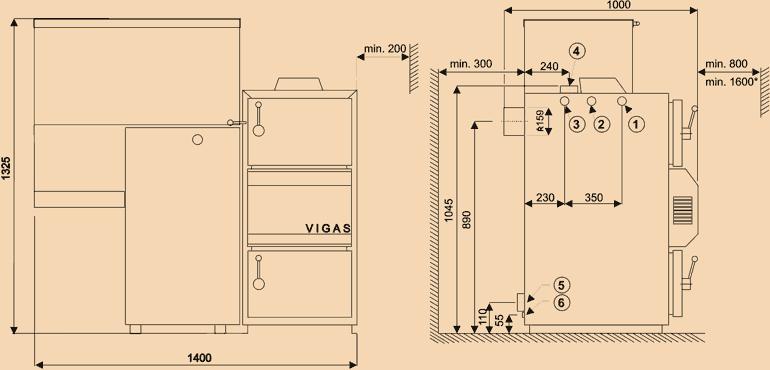 Dimensiuni cazan de apă caldă Vigas 18 DP